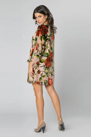 Taupe Long Sleeve Velvet Burnout Floral Dress by Lavender Brown 002
