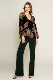 Black Floral Velvet Burnout Blouse by Lavender Brown 001