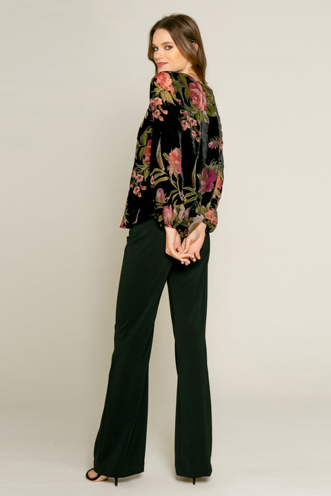Black Floral Velvet Burnout Blouse by Lavender Brown 002
