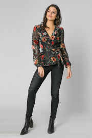 Black Long Sleeve Ruffle Floral Wrap Top by Lavender Brown 001