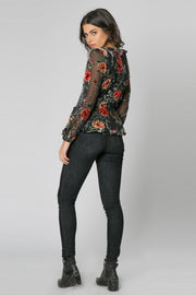 Black Long Sleeve Ruffle Floral Wrap Top by Lavender Brown 002