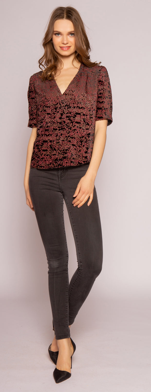 Burgundy Velvet Burnout Top by Lavender Brown 001