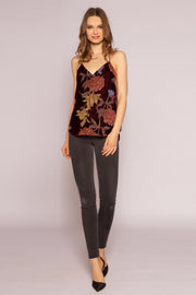 Burgundy Floral Velvet Burnout Cami Top by Lavender Brown 001