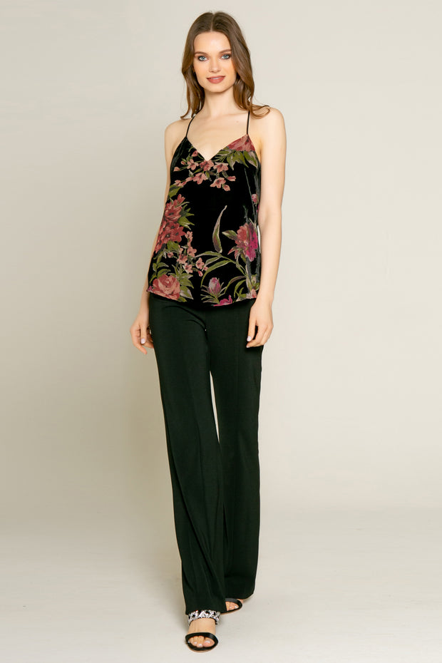 Black Floral Velvet Burnout Cami Top by Lavender Brown 001