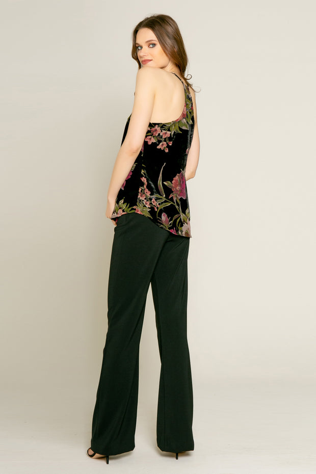 Black Floral Velvet Burnout Cami Top by Lavender Brown 002