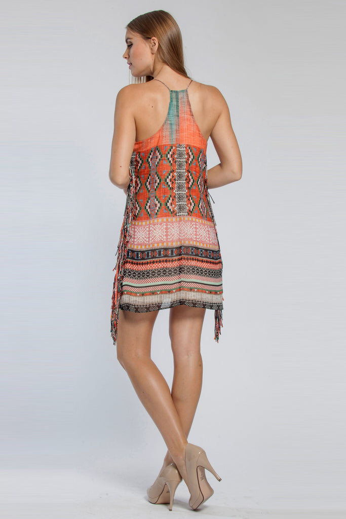 Tribal Printed Chiffon Dress - Lavender Brown