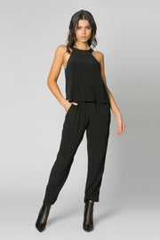 Black Sleeveless Overlay Jumpsuit by Lavender Brown 001