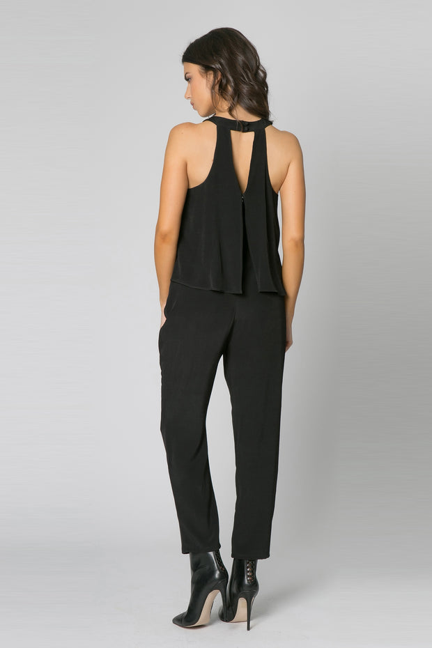 Black Sleeveless Overlay Jumpsuit by Lavender Brown 002