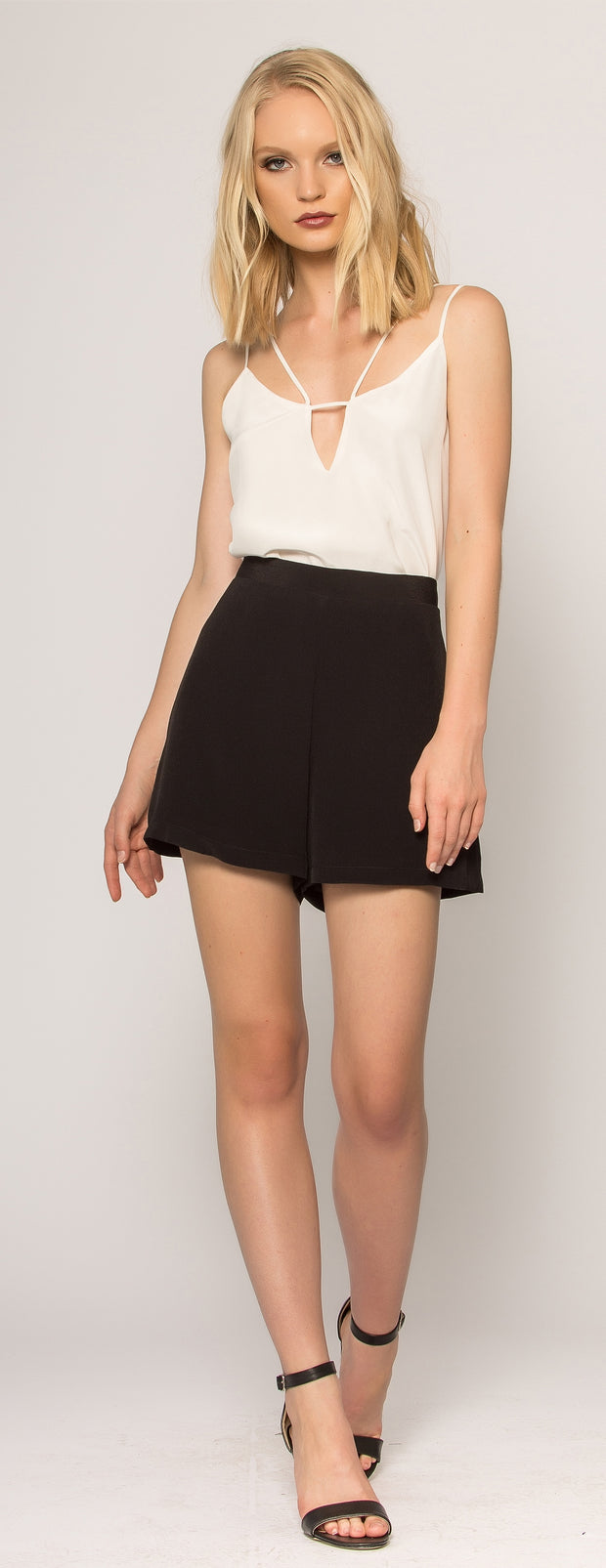 Black High Waist Shorts by Lavender Brown - 1