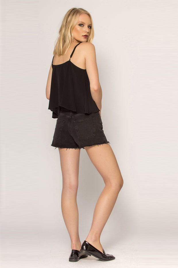 Black Open Back Flutter Cami Tank Top by Lavender Brown 002