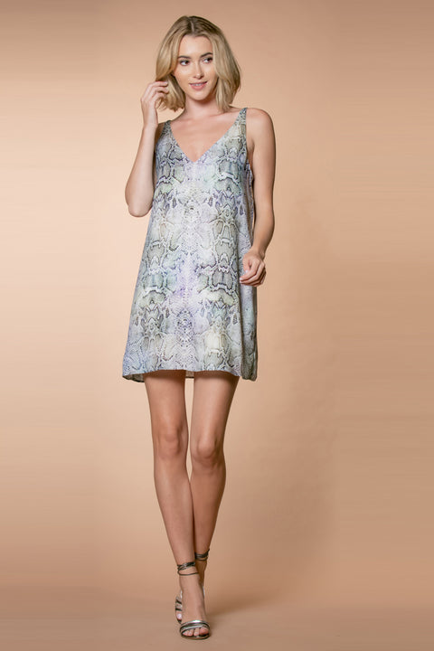 Aqua Sleeveless Snakeskin Slip Dress by Lavender Brown 001