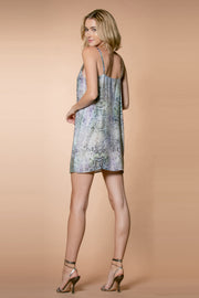 Aqua Sleeveless Snakeskin Slip Dress by Lavender Brown 002