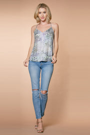 Aqua Snakeskin Racerback Cami Top by Lavender Brown 001