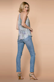 Aqua Snakeskin Racerback Cami Top by Lavender Brown 002
