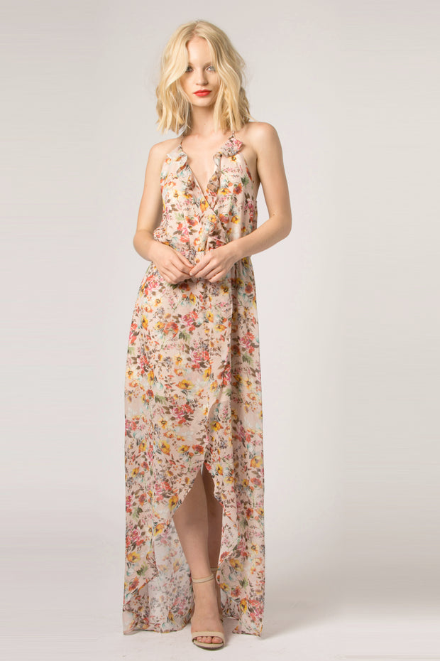 Beige Ruffled Floral Wrap Maxi Dress by Lavender Brown 001