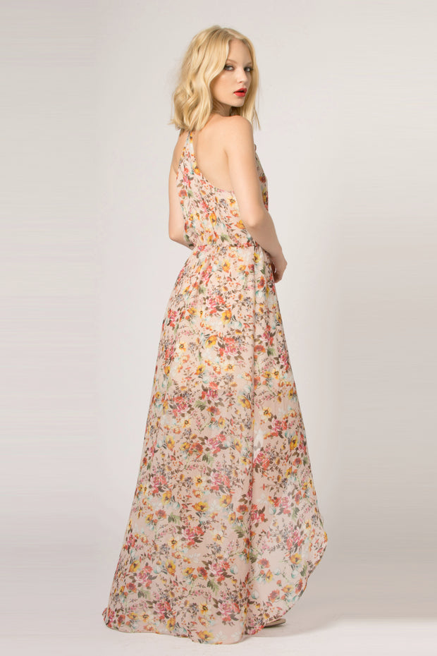 Beige Ruffled Floral Wrap Maxi Dress by Lavender Brown 002