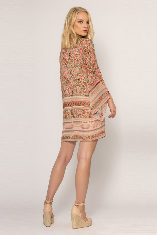 Khaki Bell Sleeve Floral Dress by Lavender Brown 002