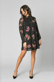 Black High Neck Floral Tunic Dress by Lavender Brown 001