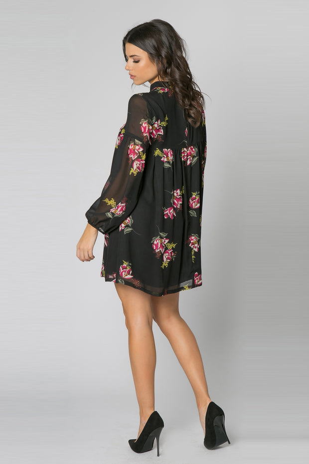 Black High Neck Floral Tunic Dress by Lavender Brown 002