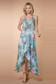 Aqua Racerback Floral Wrap Maxi Dress by Lavender Brown 001