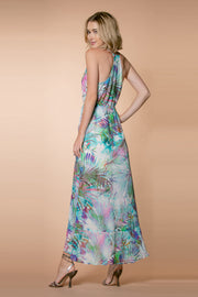 Aqua Racerback Floral Wrap Maxi Dress by Lavender Brown 002