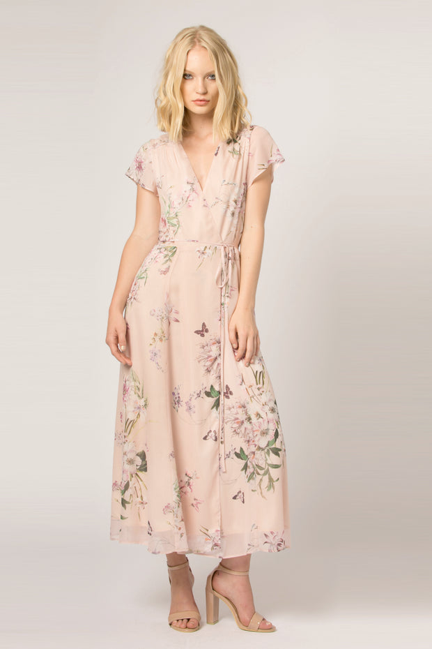 Pink Short Sleeve Floral Wrap Dress by Lavender Brown 001