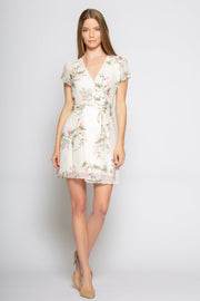 Ivory Short Sleeve Floral Mini Wrap Dress by Lavender Brown 001