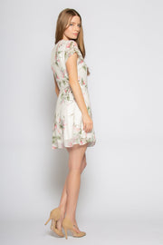 Ivory Short Sleeve Floral Mini Wrap Dress by Lavender Brown 002