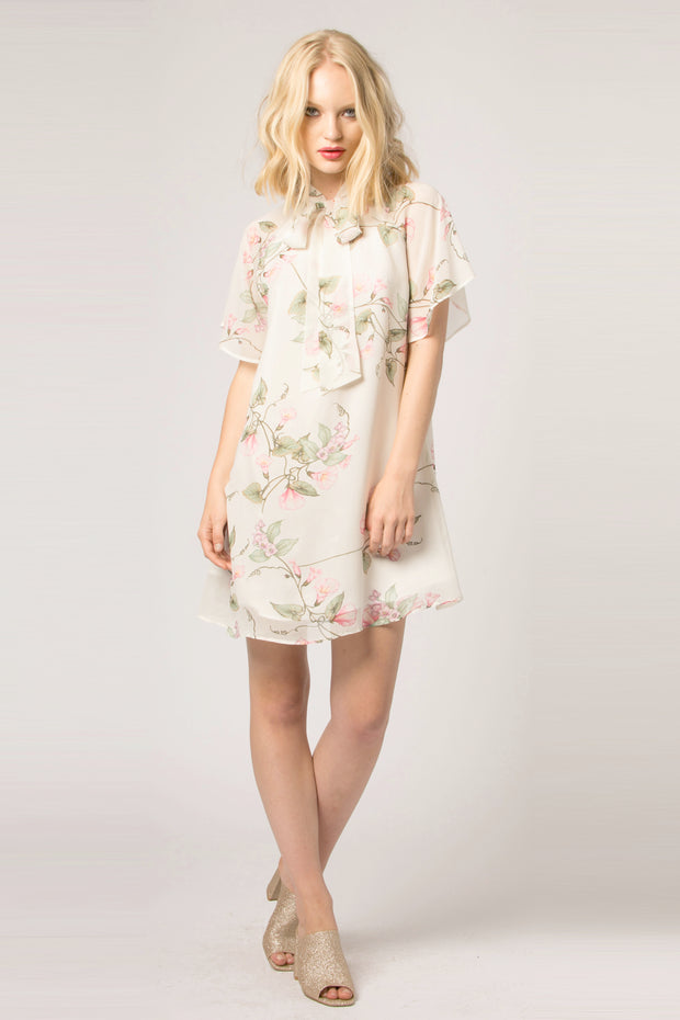 Ivory Tie Neck Floral Shift Dress by Lavender Brown 001