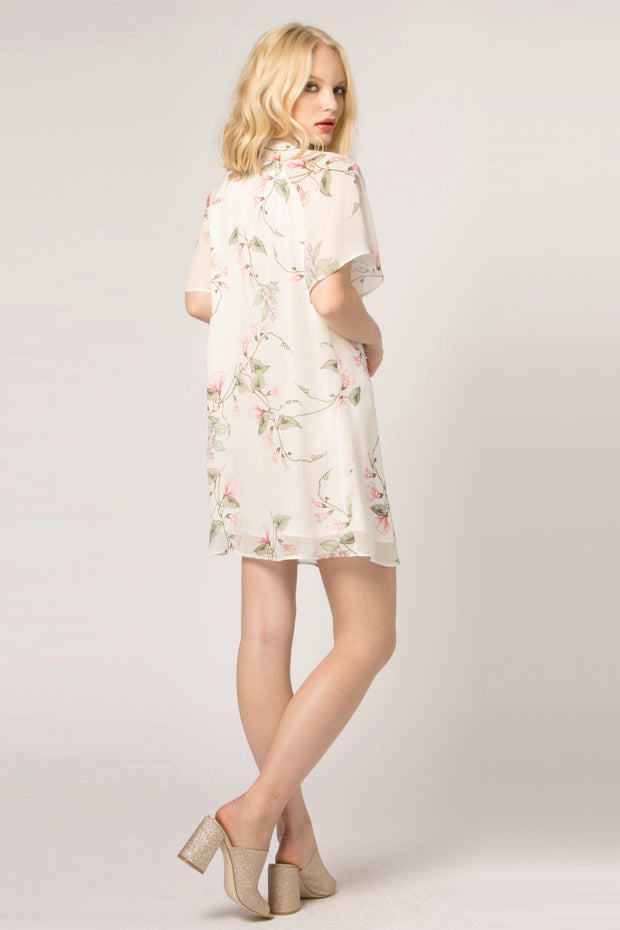 Ivory Tie Neck Floral Shift Dress by Lavender Brown 002