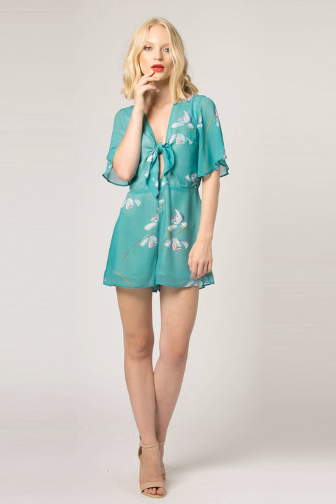Jade Floral Tie Top Romper by Lavender Brown 001