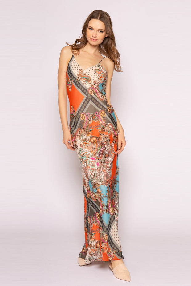Orange Spaghetti Strap Paisley Maxi Slip Dress by Lavender Brown 001