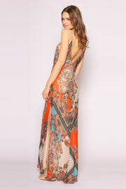 Orange Spaghetti Strap Paisley Maxi Slip Dress by Lavender Brown 002