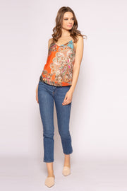 Orange Paisley Cami Tank Top by Lavender Brown 001