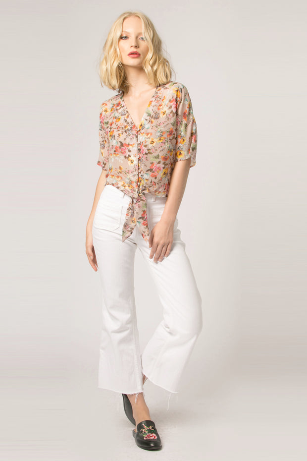 Beige Tie Waist Floral Top by Lavender Brown 001
