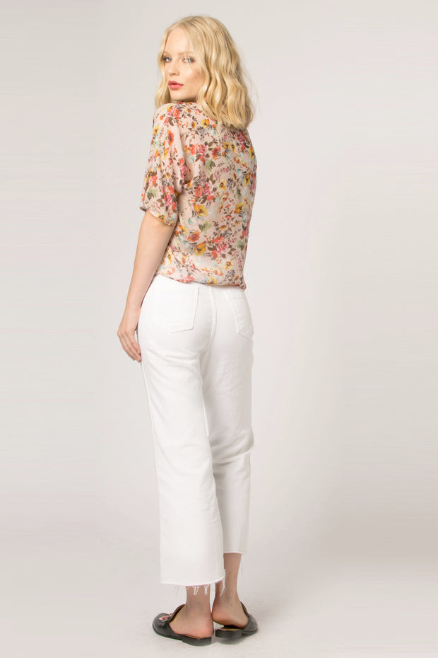 Beige Tie Waist Floral Top by Lavender Brown 002