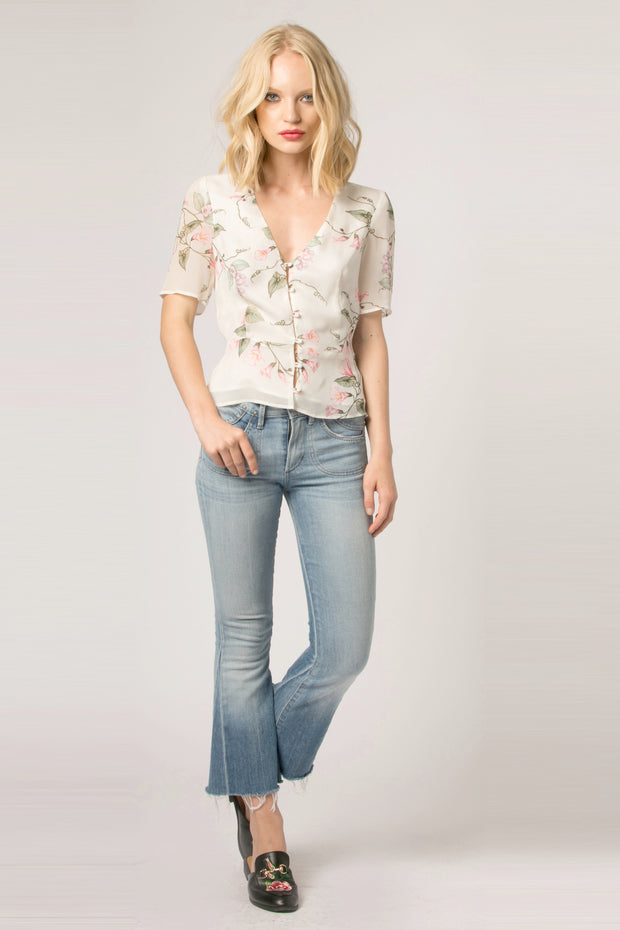 Ivory Short Sleeve Button Down Floral Top by Lavender Brown 001