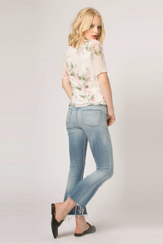Ivory Short Sleeve Button Down Floral Top by Lavender Brown 002