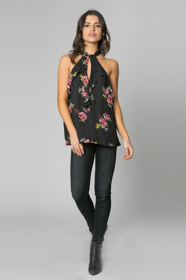 Black Sleeveless High Neck Floral Top by Lavender Brown 001