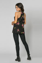 Black Sleeveless High Neck Floral Top by Lavender Brown 002