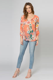 Coral Long Sleeve Floral Tassel Top by Lavender Brown 001
