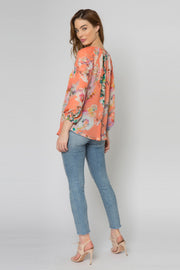 Coral Long Sleeve Floral Tassel Top by Lavender Brown 002