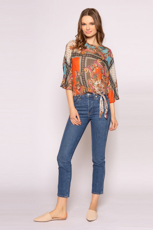 Orange Elbow Sleeve Paisley Top With Tie Waist by Lavender Brown 001