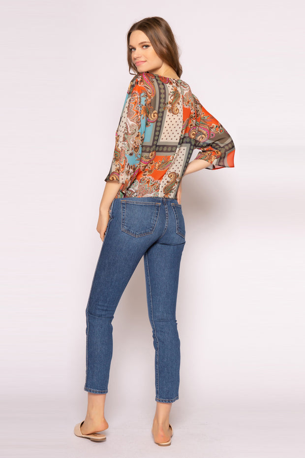 Orange Elbow Sleeve Paisley Top With Tie Waist by Lavender Brown 002