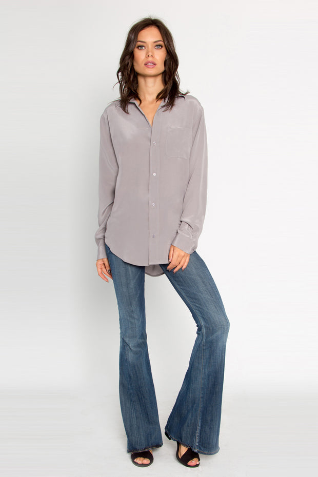 Grey Button Down Silk Blouse by Lavender Brown 001