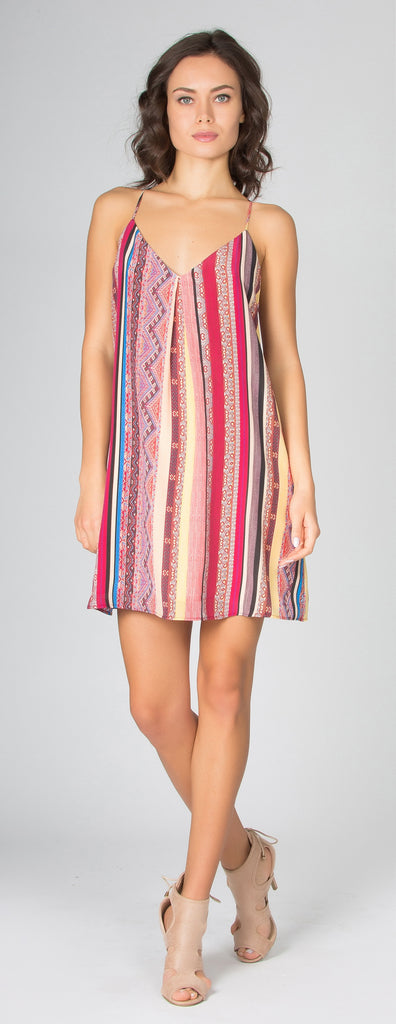 Red Sleeveless Printed Silk Dress by Lavender Brown - 1