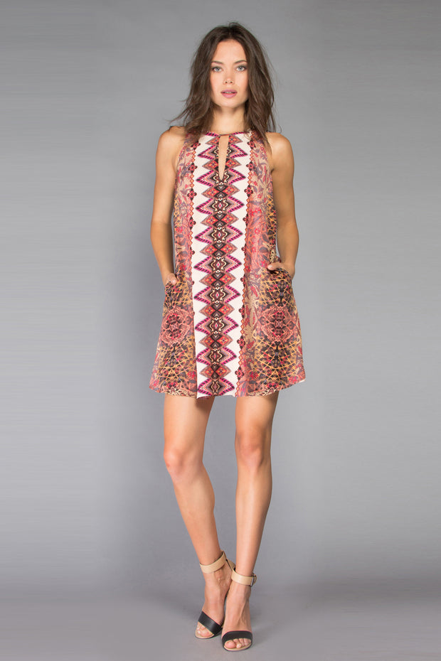 Pink Floral Sleeveless Silk Shift Dress by Lavender Brown 001