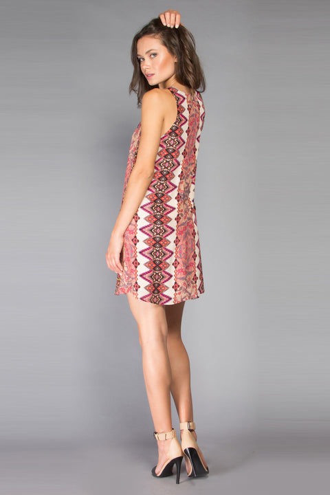 Pink Floral Sleeveless Silk Shift Dress by Lavender Brown 002