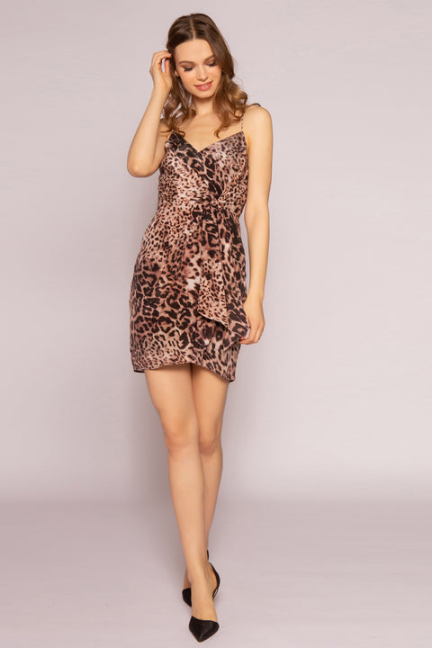 Brown Leopard Silk Mini Dress by Lavender Brown 001
