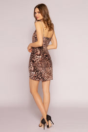 Brown Leopard Silk Mini Dress by Lavender Brown 002